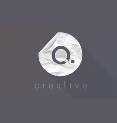 q letter logo with crumpled and torn wrapping vector image