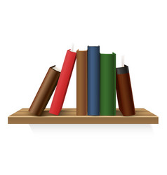 realistic hardcover book stack at shelf vector image