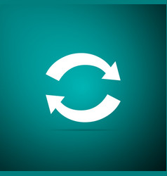 refresh icon on green background reload symbol vector image