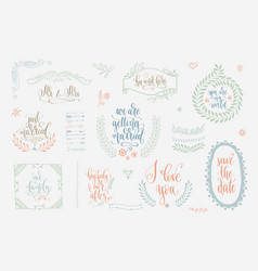 Rustic wedding vintage element set for save the vector