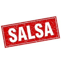 Salsa red square grunge stamp on white vector