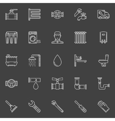Sanitary engineering line icons vector