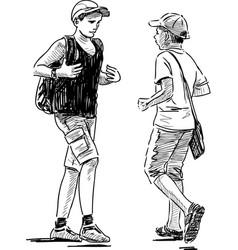 Schoolboys on a stroll vector