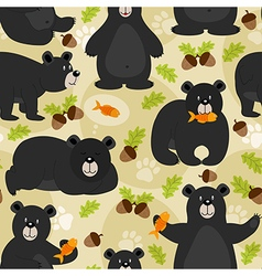 Seamless pattern black bear vector