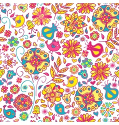 seamless pattern of spring flowers vector image