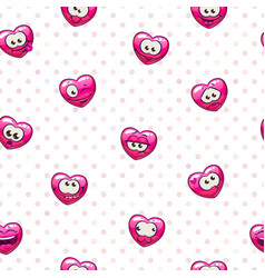 Seamless pattern with funny heart emoji vector