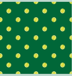 seamless pattern with tennis ball on a green vector image