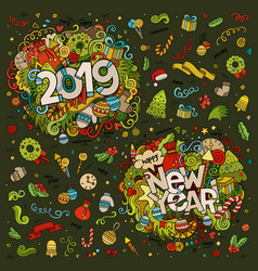 set 2019 and new year hand lettering and vector image
