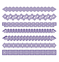 set of strip patterns purple ornament color can vector image