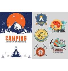 set vintage outdoor camp badges logo vector image
