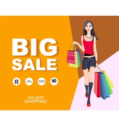 Shopping wonan model Big Sale vector image