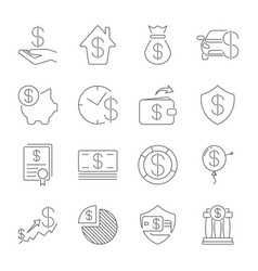 simple set money related line icons vector image