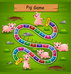 Snakes and ladders game pigs theme vector