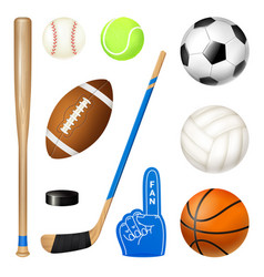 Sport inventory realistic set vector
