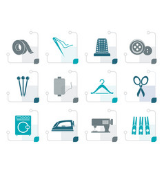 Stylized textile objects and industry icons vector