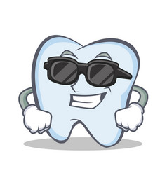 Super cool tooth character cartoon style vector