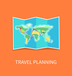 travel planning paper map vector image