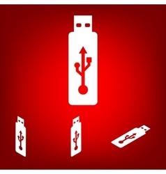 usb flash drive icon set Isometric effect vector image