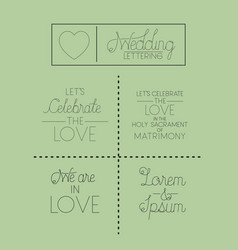 wedding and married invitation set cards vector image