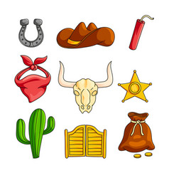 wild west with cowboy accessories set isolated on vector image