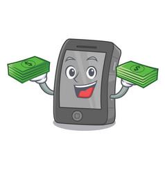 With money bag ipad on a wooden cartoon table vector