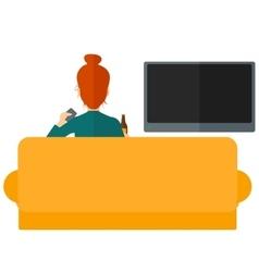 Woman watching TV vector image