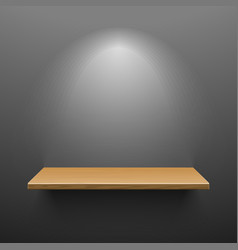 Wooden shelf on dark wall vector image vector image