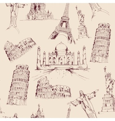 World landmark seamless pattern vector