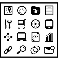 Black web icon set vector image vector image