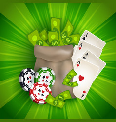 casino banner with tokens cards and money bag vector image vector image