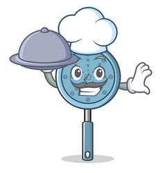 chef with food skimmer utensil character cartoon vector image