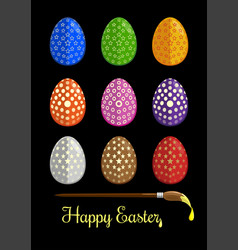 easter eggs and brush for coloring eggs vector image vector image