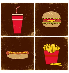 Four fast food vector image