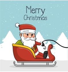 greeting merry christmas with santa and sleigh vector image