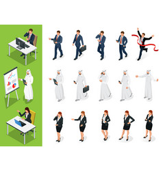 isometric business characters poses set of vector image vector image