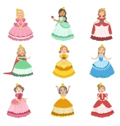 Little Girls Dressed As Fairy Tale Princesses vector image