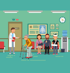 patients and disabled peoples waiting doctor in vector image vector image