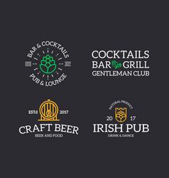 set of retro vintage beer and alcohol hop barrel vector image vector image
