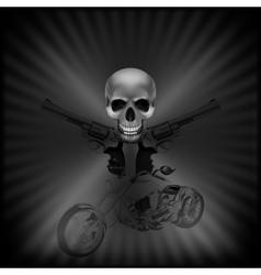 background biker skull and revolvers vector image