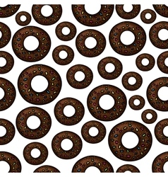 Chocolate doughnuts retro cartoon seamless pattern vector image