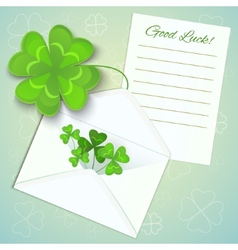 Letter envelope and clovers for StPatricks day vector image vector image