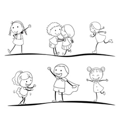 scetches of kids vector image