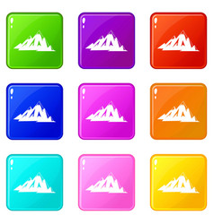 Canadian mountains icons 9 set vector