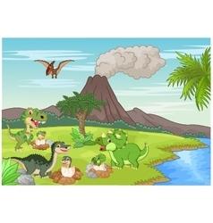 Cartoon dinosaur nesting ground vector image