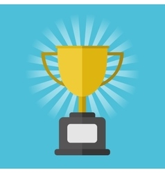 Gold winner cup on blue background vector image