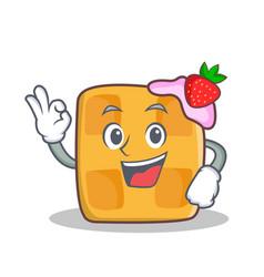 okay waffle character cartoon design vector image