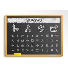 Arrows hand drawing line icons chalk sketch signs vector image