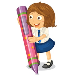 girl with a pencil vector image