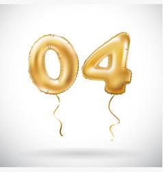 golden number 04 zero four metallic balloon party vector image vector image