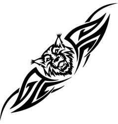 lynx and symmetric tribals - vector image vector image